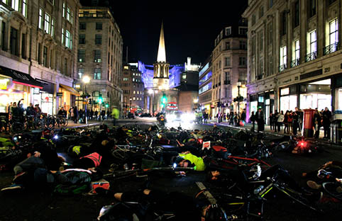 Cycling activists perform a 'die-in' on Regent Street