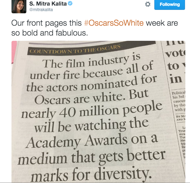 The LA Times editor's thoughts on the front page of the LA Times on the upcoming Oscars
