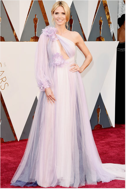 Model Heidi Klum in a Marchesa gown.