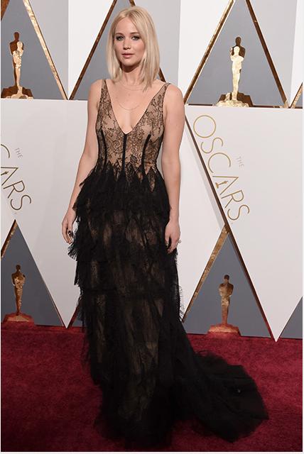 Oscar winner Jennifer Lawrence in a Dior gown.
