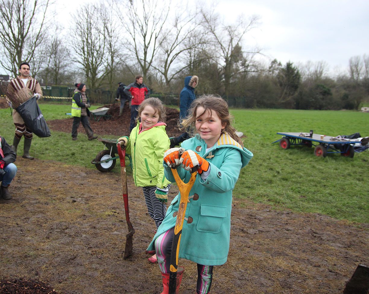 Lily Maskell-Key planting trees on King George's field, Southall (Photo: Gifty Andoh Appiah)