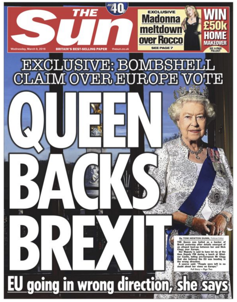 The Sun has claimed the Queen backs BREXIT