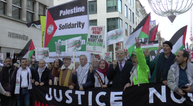 "Thousands of pro-Palestinians marched in London to demand ""equal rights"""