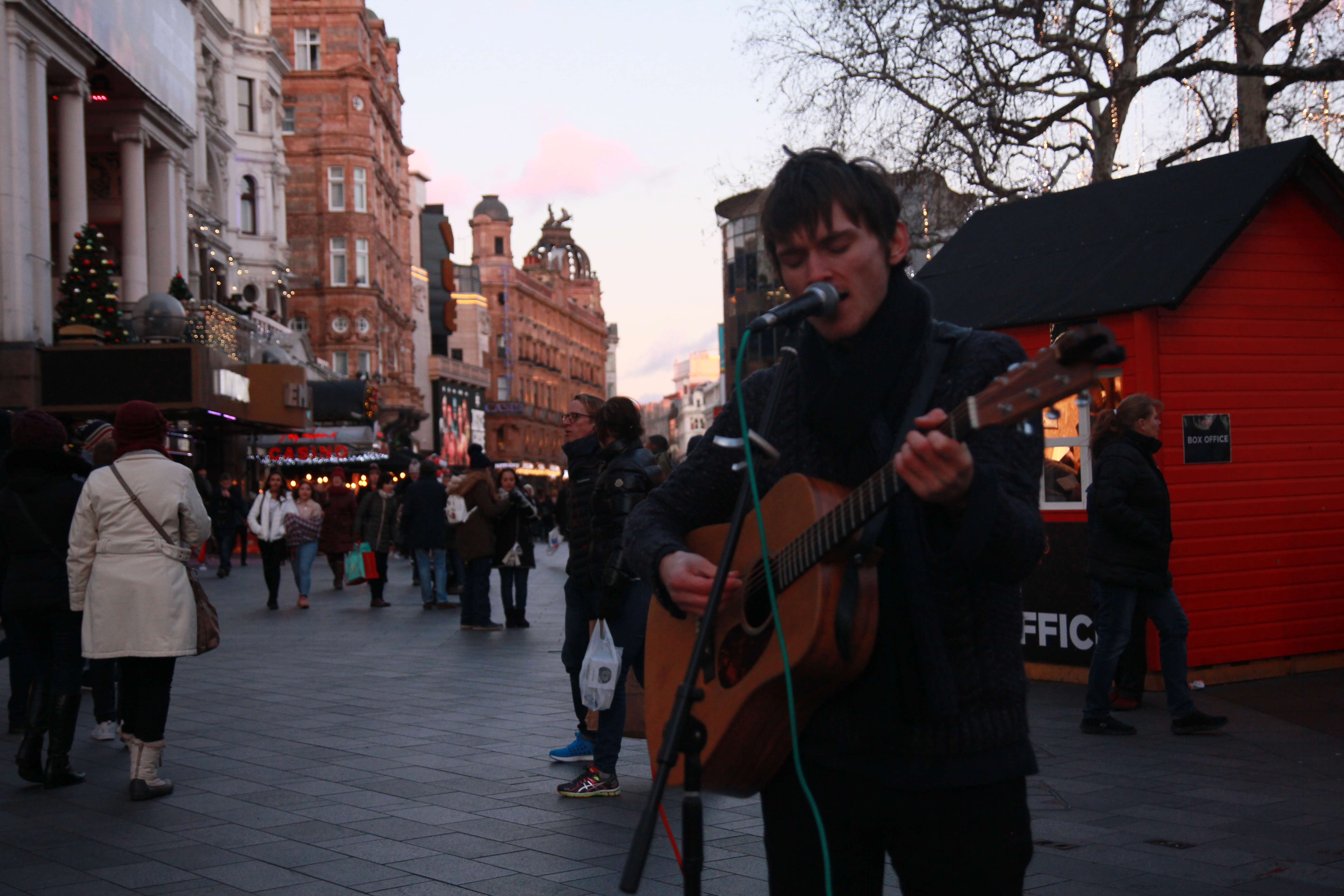 Jack Lloyd busking at Leicester Square